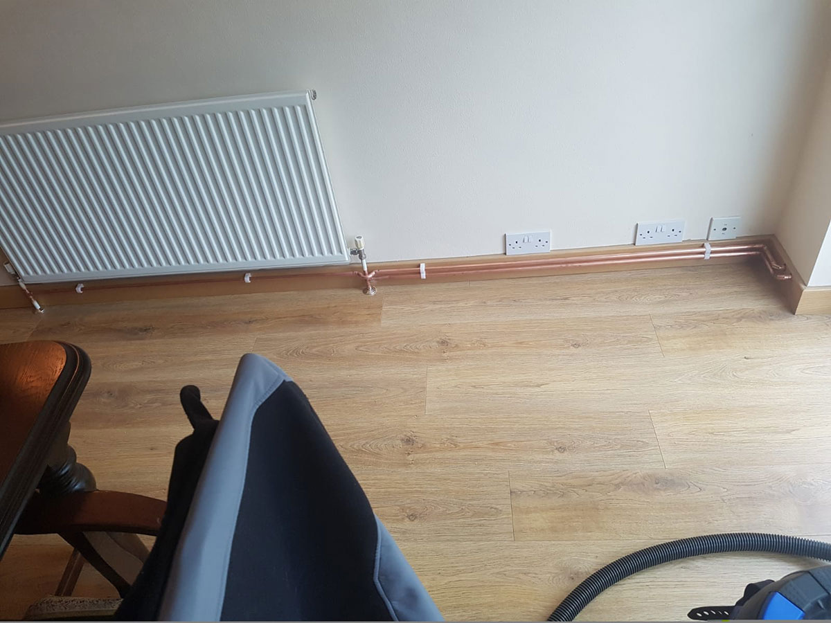 radiator extension pipework installation